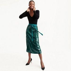 J crew Midi Sequin Skirt in Academic Green, 14